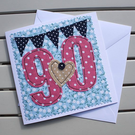 90th Birthday Card Machine Embroidered Personalised Insert