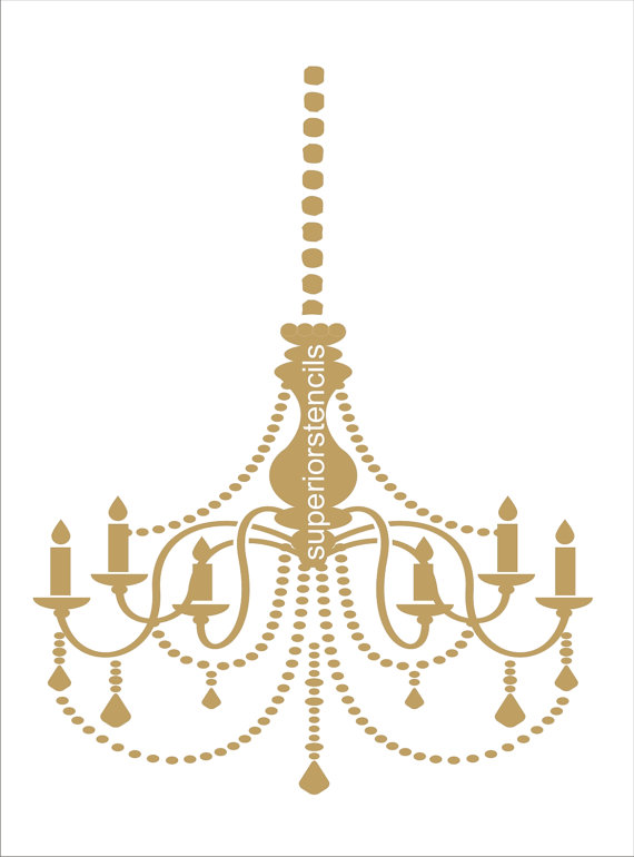 Chandelier with chain stencil available in 4 sizes wall stencils chandelier with chain stencil available in 4 sizes wall stencils create aloadofball Image collections