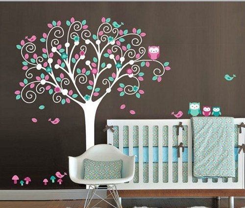 Colorful Tree Cute Owl Family Bird Nursery Leaf Art Decals Wall Sticker Vinyl Decal Stickers