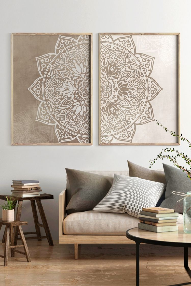 Original Beige Taupe Mandala Wall Art Set of 7 Printable Art, Boho