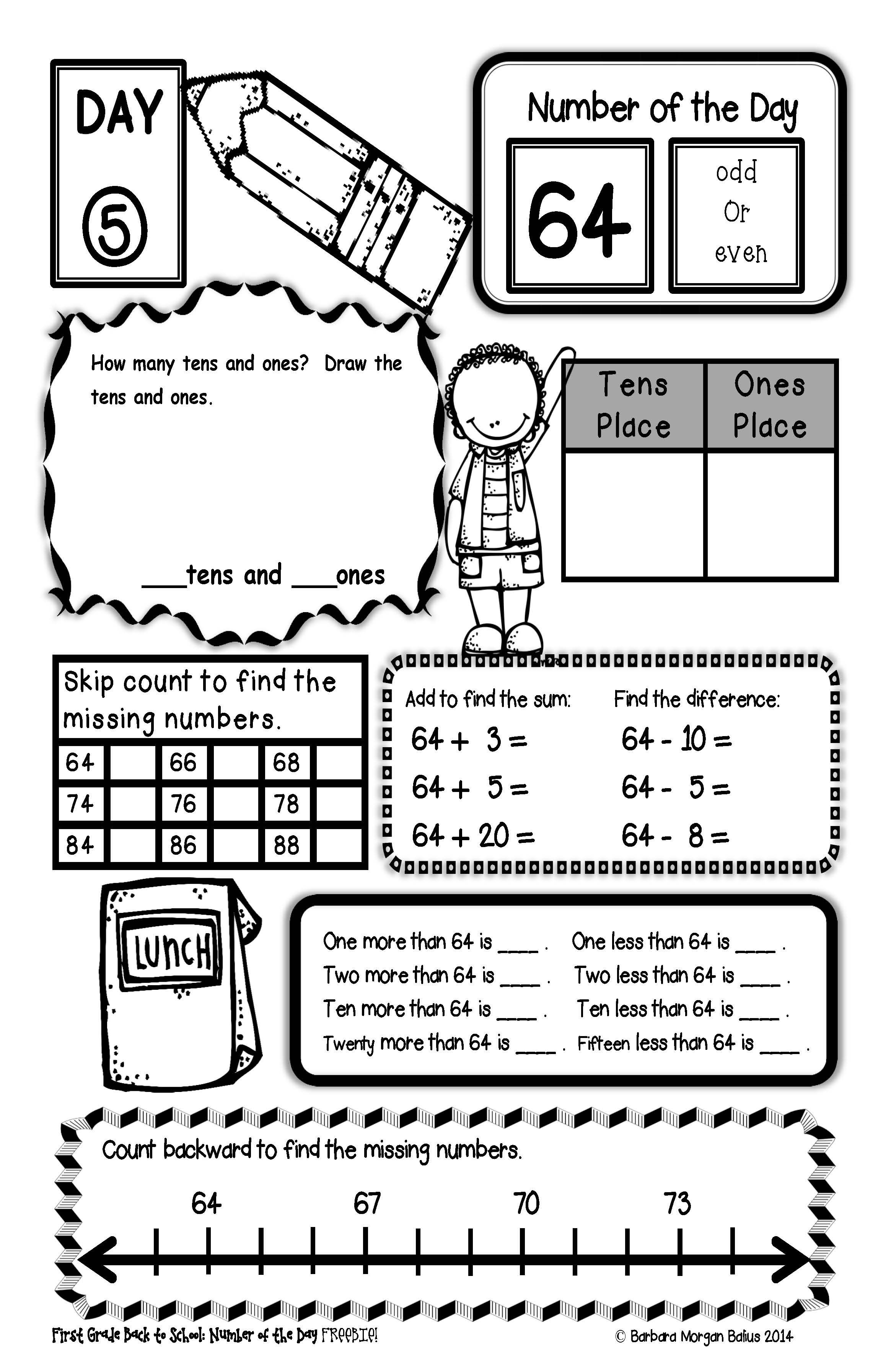 School Worksheets For 2nd Grade : Second grade back to school number of the day freebie all