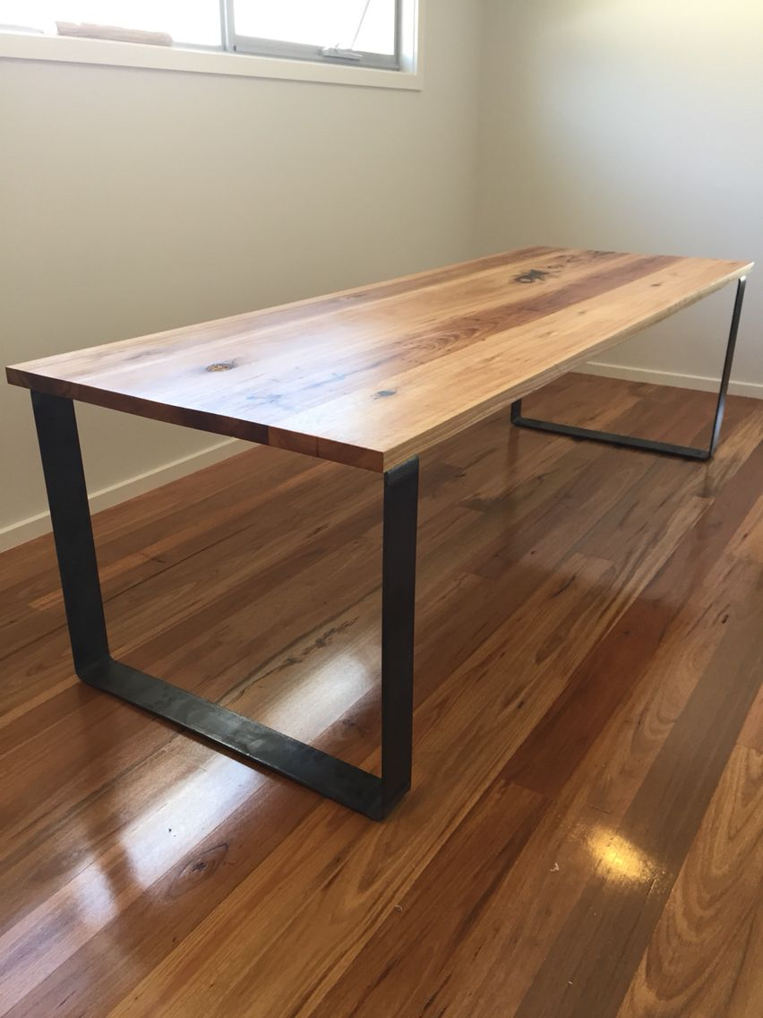 Timber Table Legs Dining Table From Blackbutt And Raw Steel Legs House In 2019