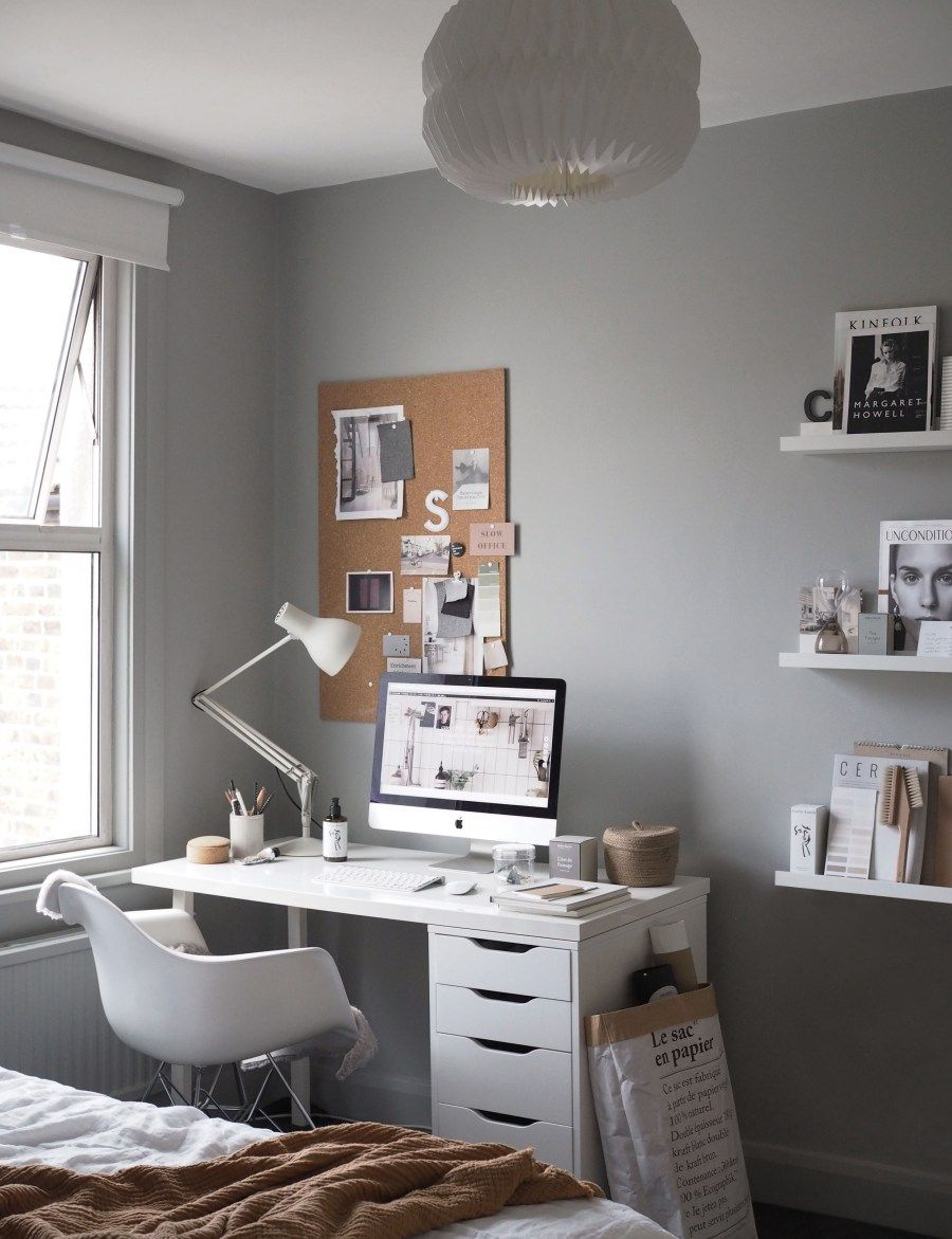 A cosy, grey home office for a freelance creative