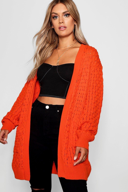 Womens Plus Crochet Knitted Oversized Cardigan orange 12