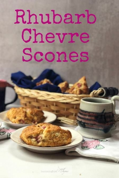 "Rhubarb Chèvre Scones Rhubarb Scones with Chevre - Is it a scone or a biscuit? Are American Scones better than British Scones? Do you say ""scone"" or ""scawn""?  If it has Rhubarb and Chèvre, I say, who cares? It's scrumptious!"
