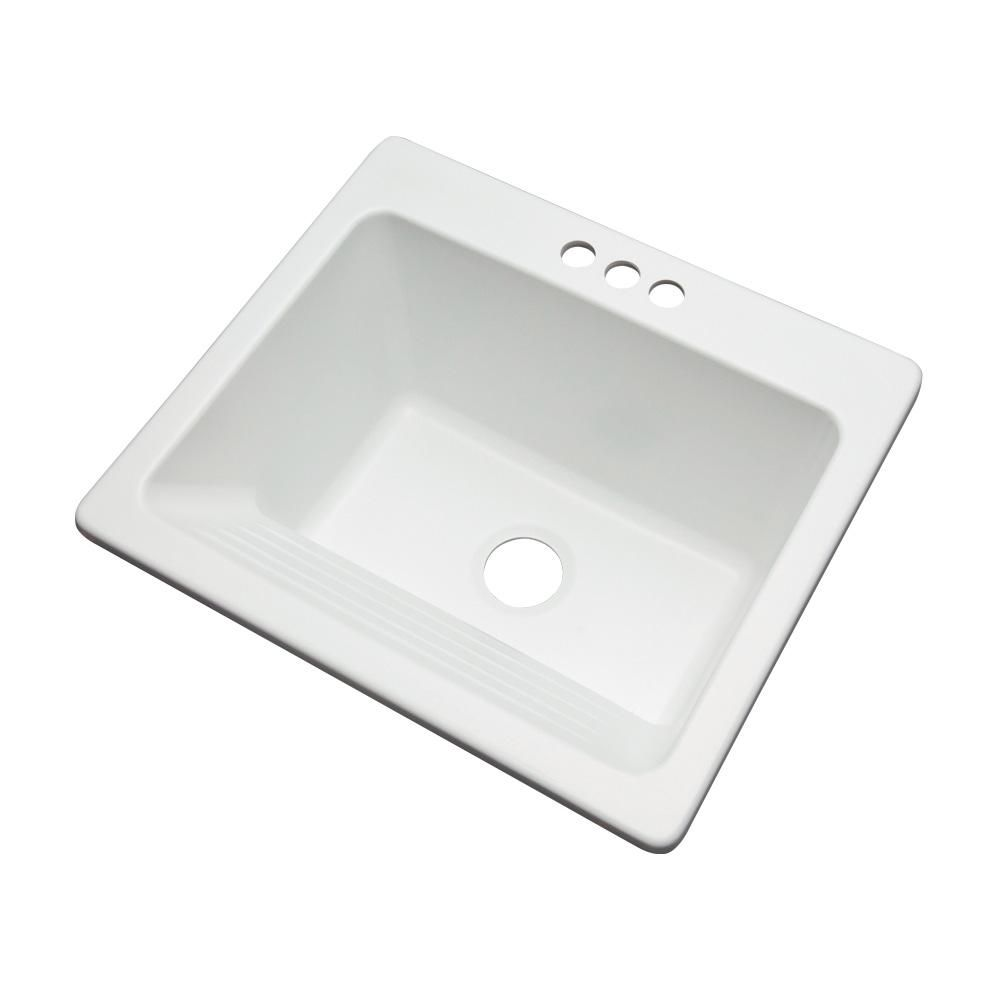 Thermocast Kensington Drop In Acrylic 25 In 3 Hole Single Bowl