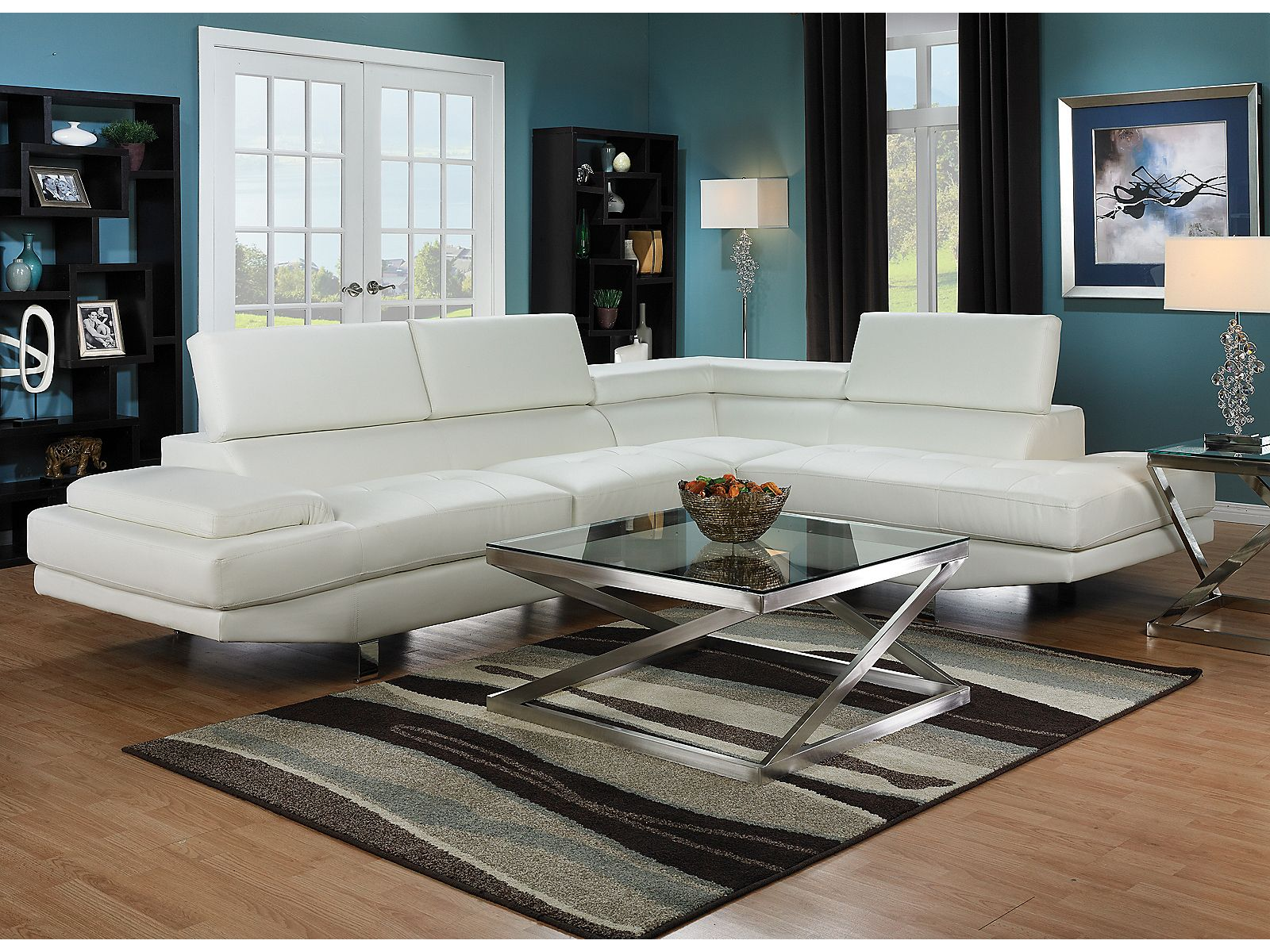 Zane 2 Piece Sectional with Right Facing Chaise White