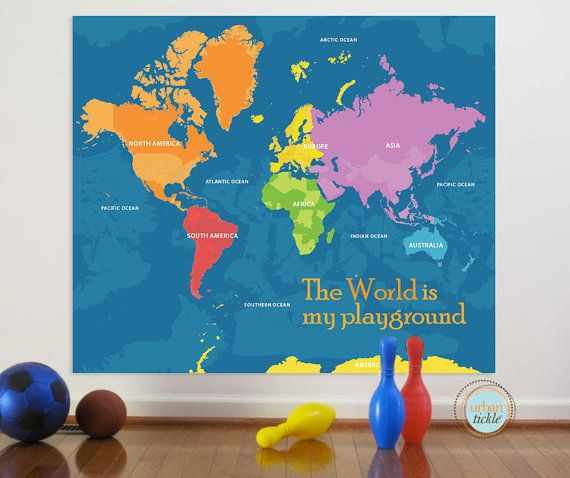 World map decal playground world 59x50 inches nursery decor baby world map decal playground world 59x50 inches nursery decor baby room gumiabroncs Image collections