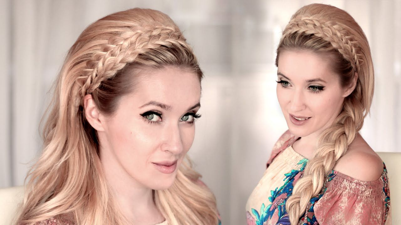 4 Braided Headband Hairstyles With Big Teased Hair Tutorial 60s