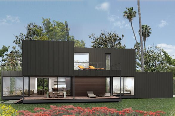 This is a Marmol Radziner PRE-FAB home...  yeah, pretty amazing. no ranch-y model homes here.