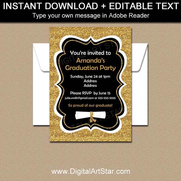 fancy graduation invitations black and gold glitter graduation