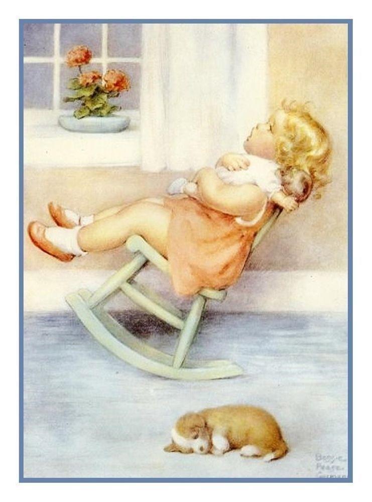 Bessie Pease Gutmann  Baby Girl Pink Sleeping Counted Cross Stitch Pattern