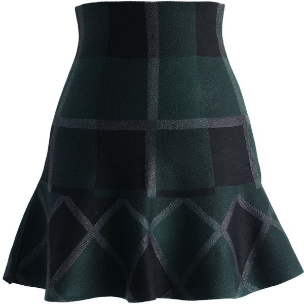 Chicwish Green Plaid Knitted Skater Skirt (€35) ❤ liked on Polyvore featuring skirts, bottoms, green, sexy skirt, tartan plaid skirt, stretchy skirt, green skirt and tartan skirt