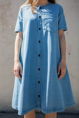 69 Button-Up Basic Dress in Medium Light Denim | Oroboro Store | Brooklyn, New York