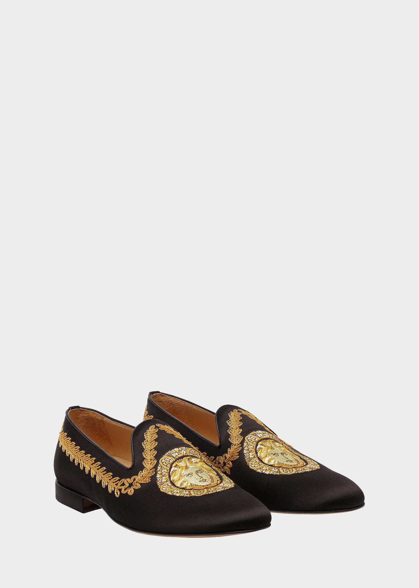 5b514812c3bf VERSACE Embroidered Gold Hibiscus Satin Loafers.  versace  shoes ...