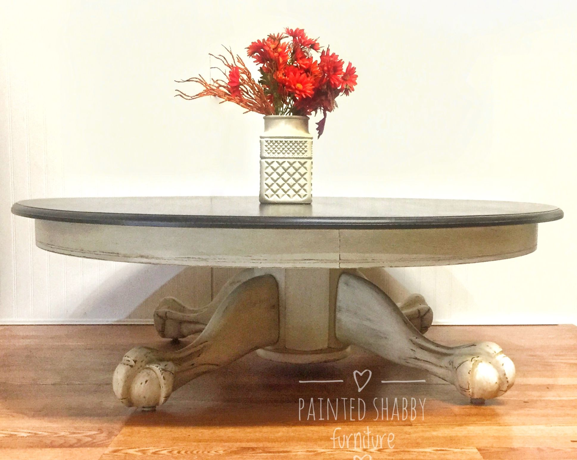 Vintage painted round coffee table antique white distressed bottom
