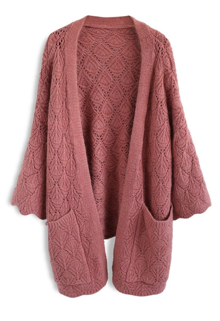Cozy Touch Diamond Open Knit Cardigan in Brick Red | Unique fashion, Indie  and Cozy