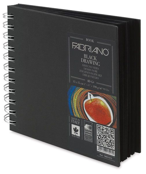 "Sketchbook, Black Hardcover, 6"" x 6"