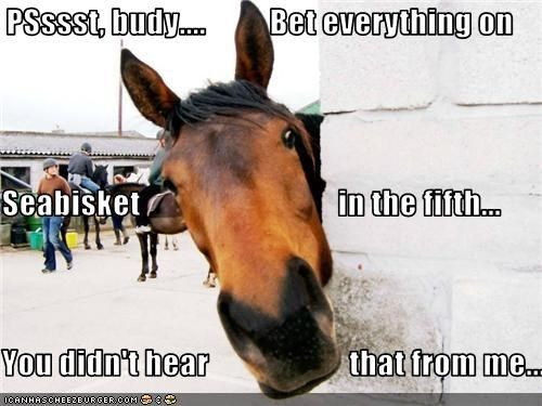PSssst, budy....          Bet everything on    Seabisket                               in the fifth... You didn't hear                      ...