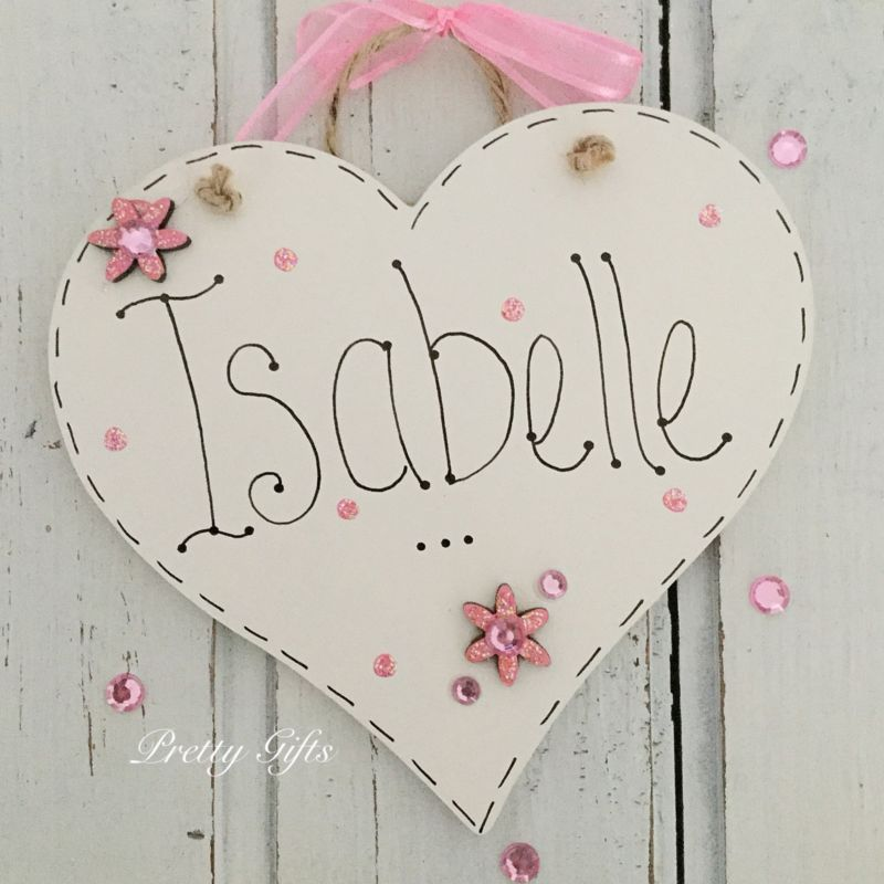 Details about handmade personalised heart name plaque keepsake details about handmade personalised heart name plaque keepsake gift baby girl boy christening negle Image collections