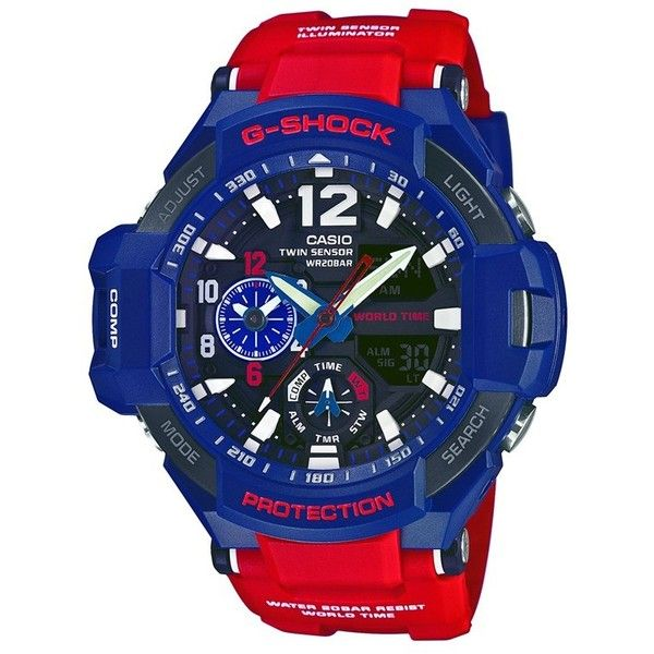 G-Shock 'Gravity Master' Digital Compass Resin Watch, 51mm x 52mm (£170) ❤ liked on Polyvore featuring jewelry, watches, digital wristwatch, g shock wrist watch, digital wrist watch, oversized jewelry and digital sport watch