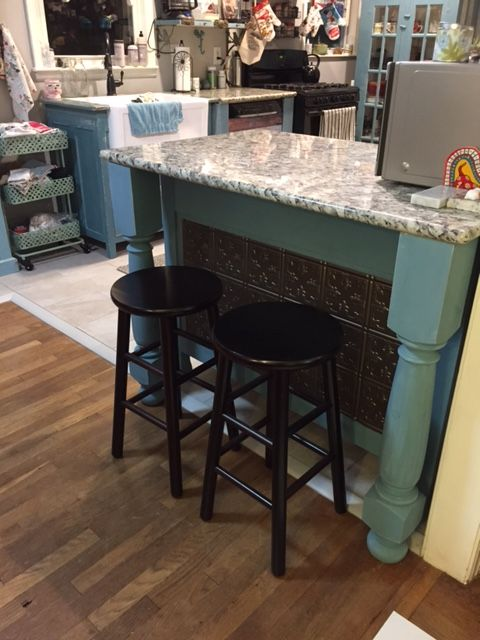 Wood Stools In Expresso From Amazon. Table Leg Supports From Tablelegs.com