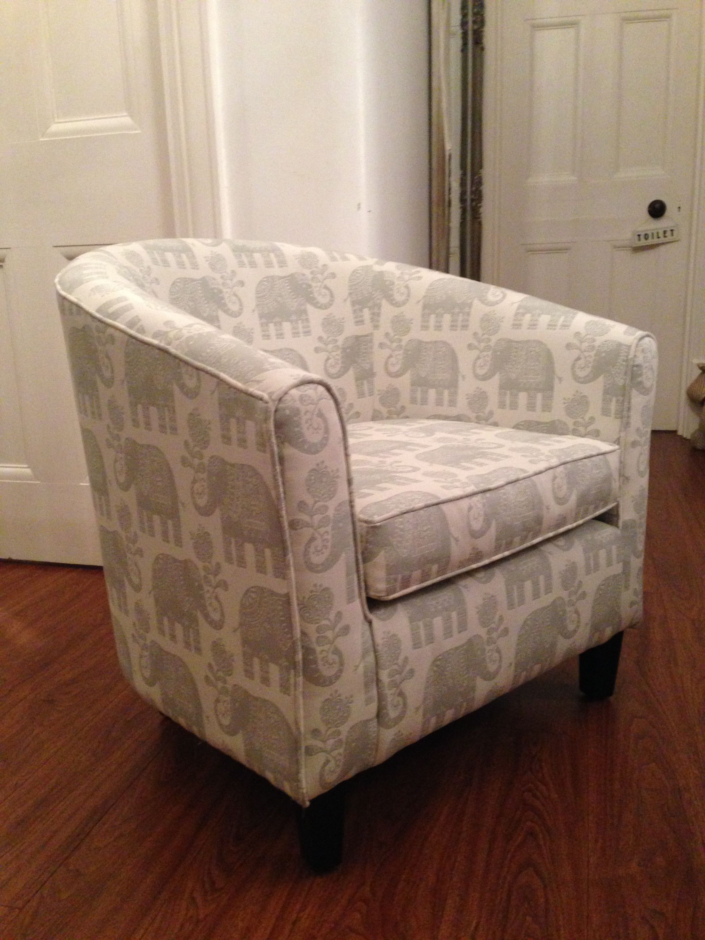 A Salvaged Tub Chair Reupholstered Using Justfabrics Amy