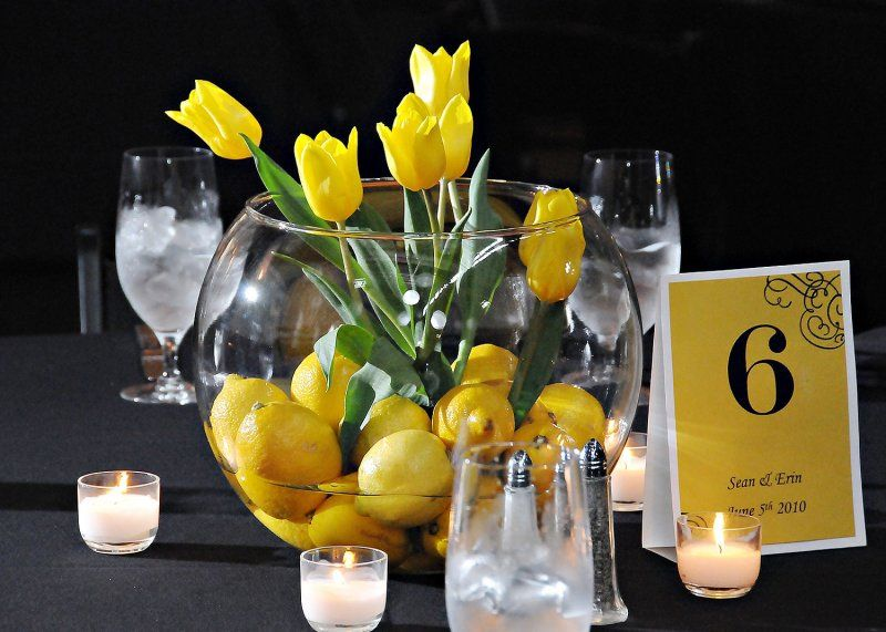 Yellow tulip glass centerpiece