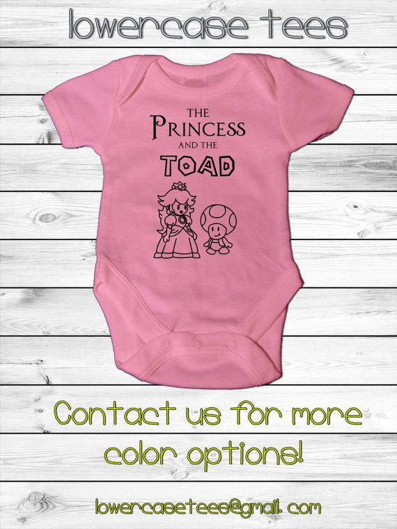 13347b3f7026 Baby Super Mario Inspired Onesie -5 sizes- Princess and the Toad Design funny  bodysuit shower gift custom gamer geeky girl