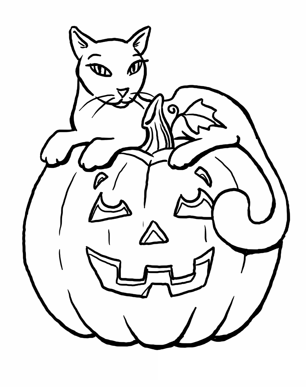 Black Cat Halloween Coloring Pages Printable | 1255x991