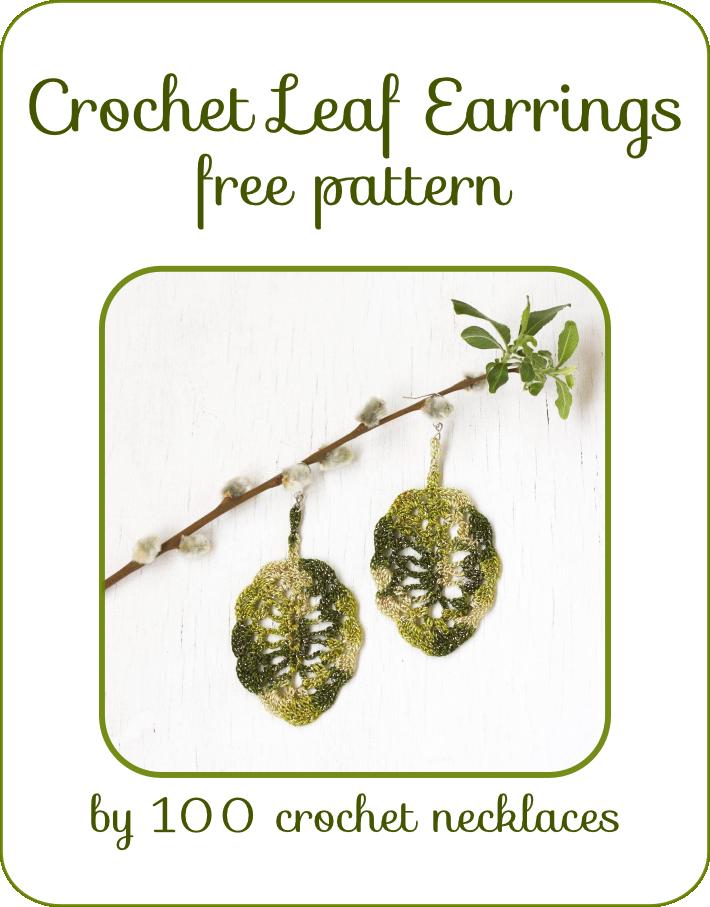 100 crochet necklaces: Crochet leaf earrings - Free pattern ...