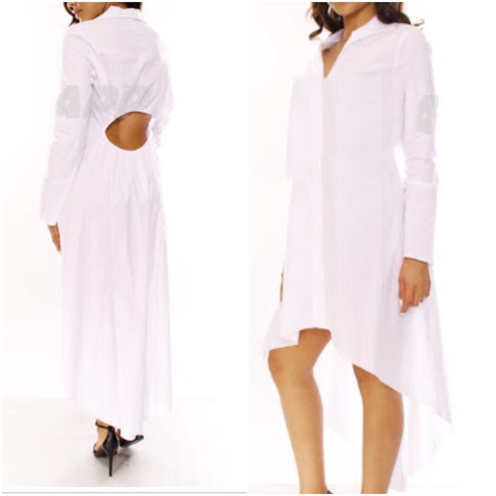 New Plus Size High Low White Shirt Dress With Cut Out Back Size 2x