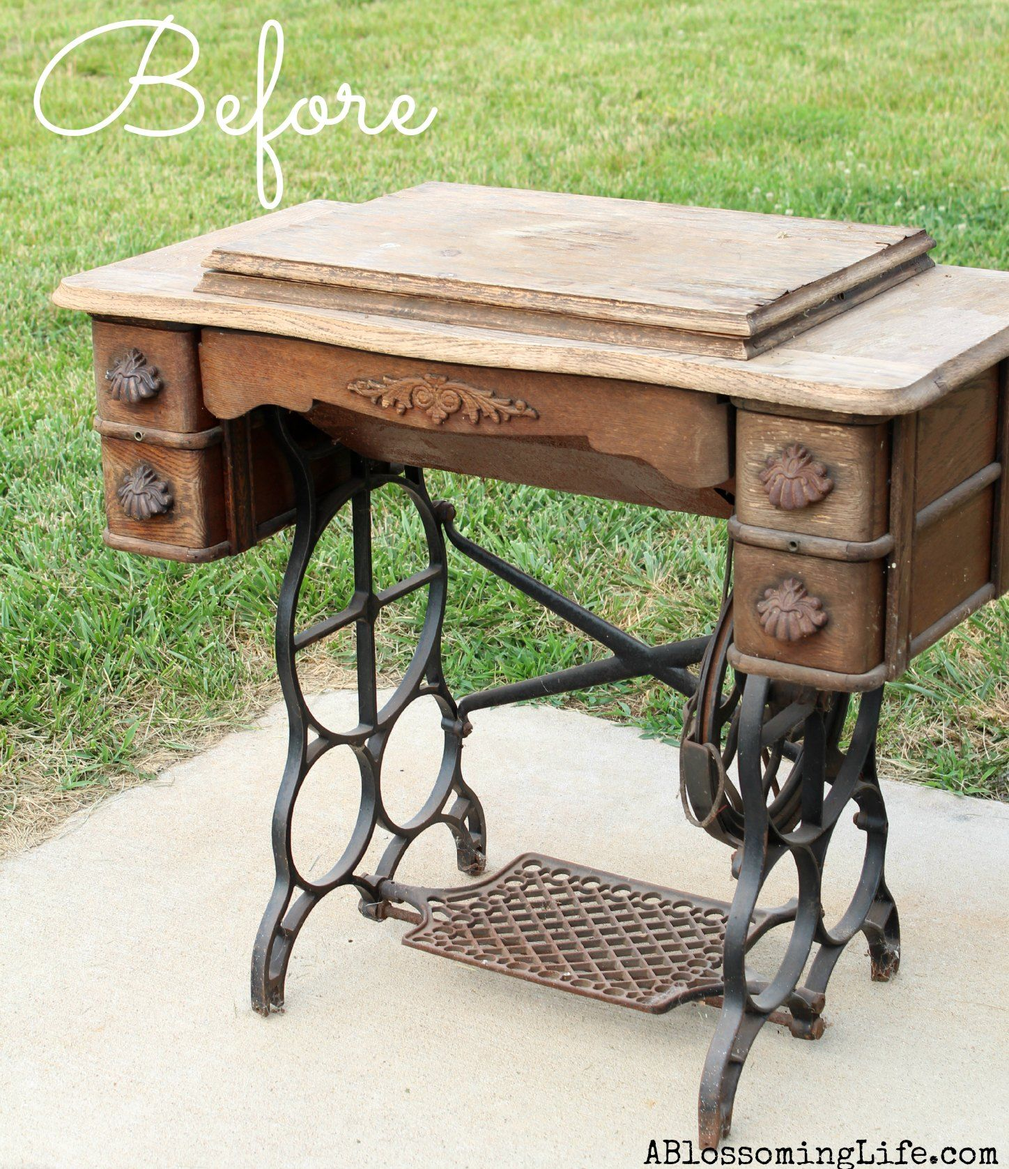 Diy old sewing machine redo to nightstand nightstands for Redo furniture