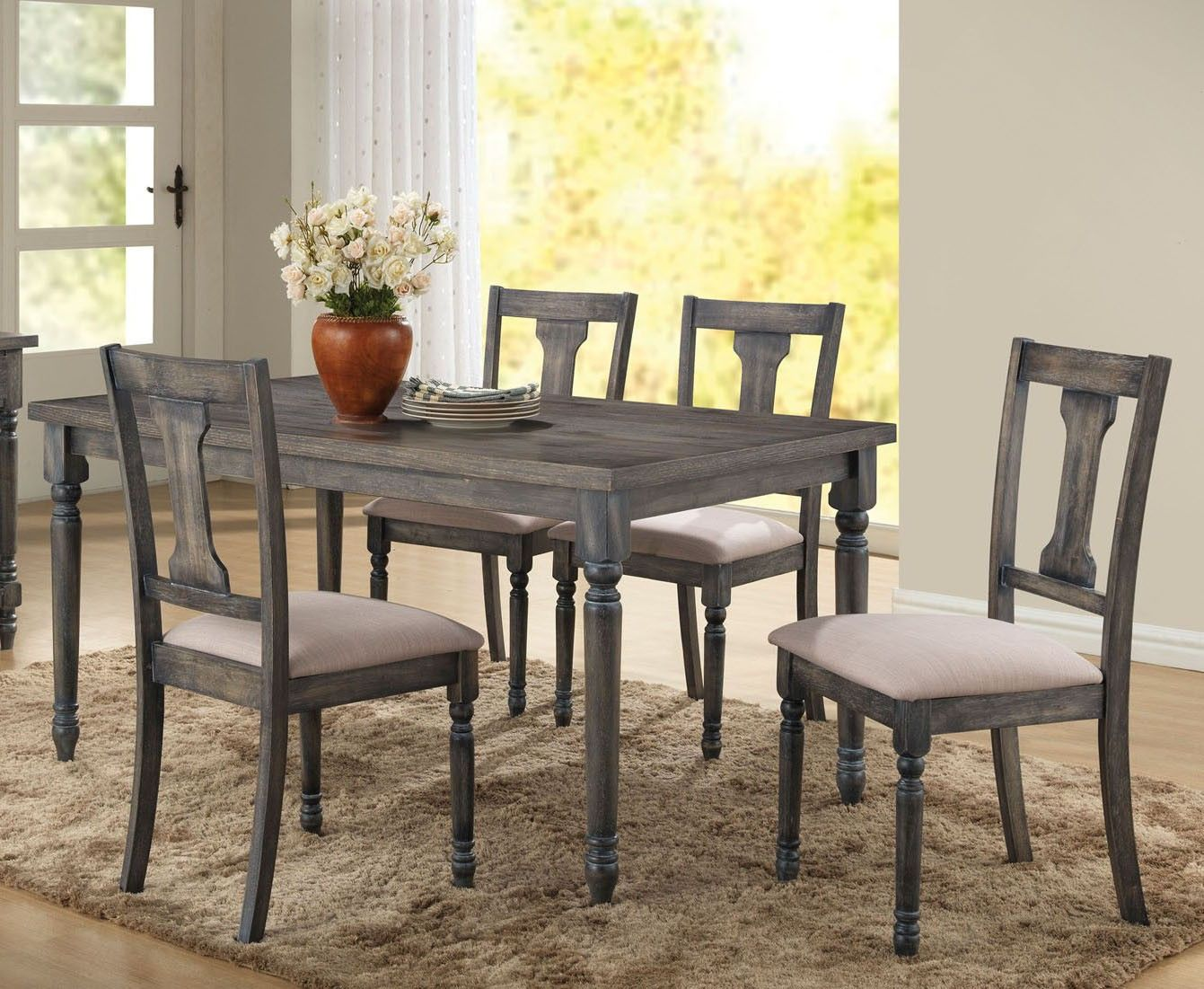 weathered wood dining table. Acme 71435 Wallace 5pcs Weathered Blue Washed Wood Dining Table Set