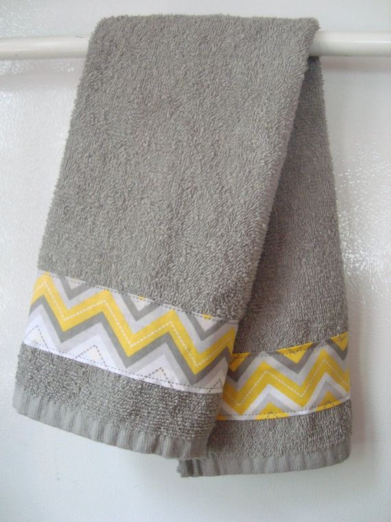 Fantastic Hand Towel Gray Yellow Chevron Hand Towel By Complete Home Design Collection Barbaintelli Responsecom