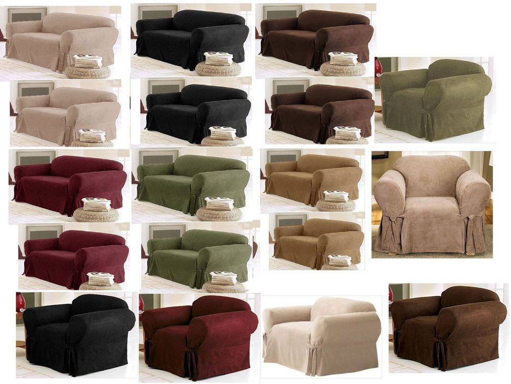 1PC Soft Micro Suede Furniture Slipcover for Sofa Loveseat or Chair