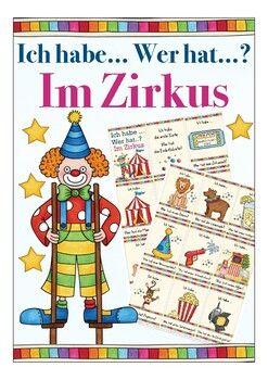Ich habe … Wer hat …? Zirkus Spiel Deutsch / German for kids