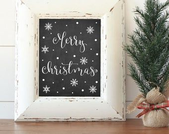 Merry Christmas Sign Printable, Merry Christmas Chalkboard Download 24x36, Merry Christmas Calligraphy Wall Art Poster, Instant Download