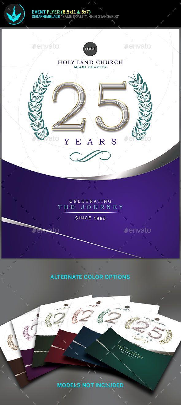 Regal Purple and Silver Church Anniversary #Flyer Template - Church