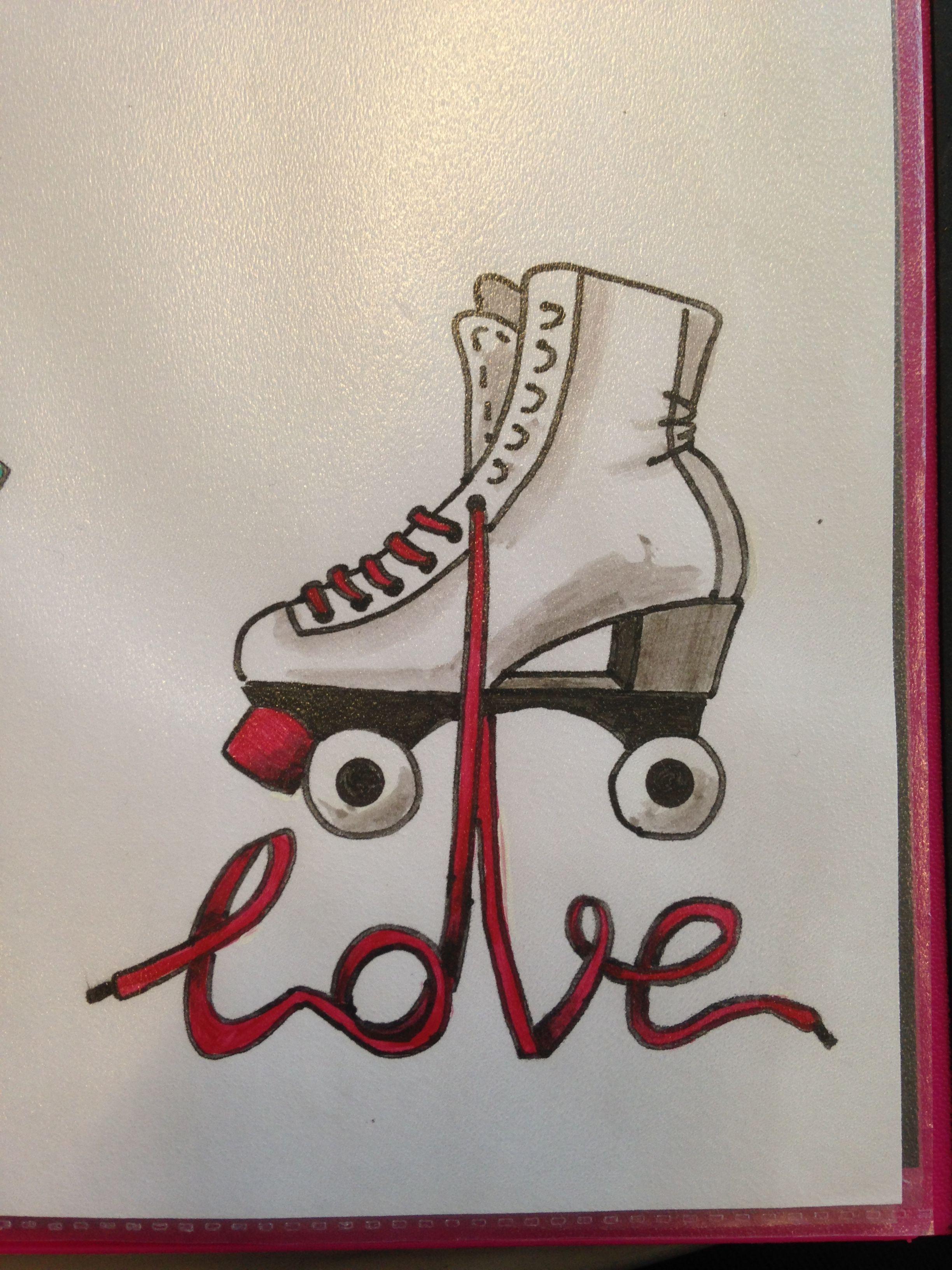 Zoella roller skates - Love Skates Tattoo Drawing Made By Linda Da Linci Zwijndrecht The Netherlands