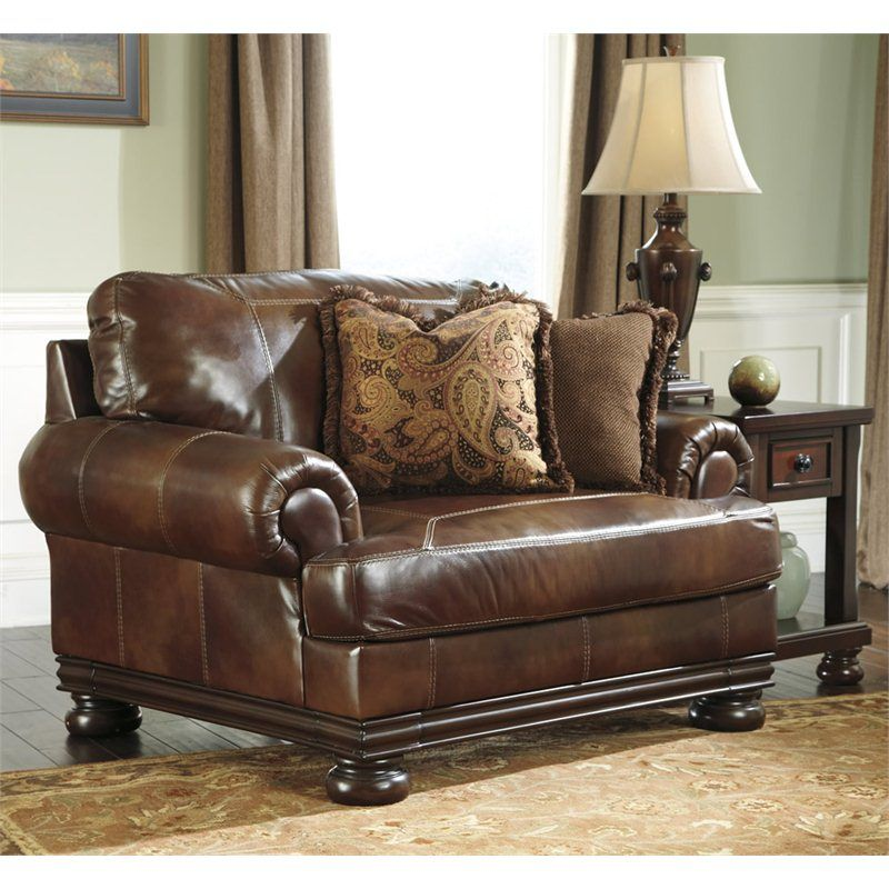 Ashley Furniture Hutcherson Leather Accent Chair And A Half In Harness Oversized Chair Living Room Leather Sofa And Loveseat Furniture