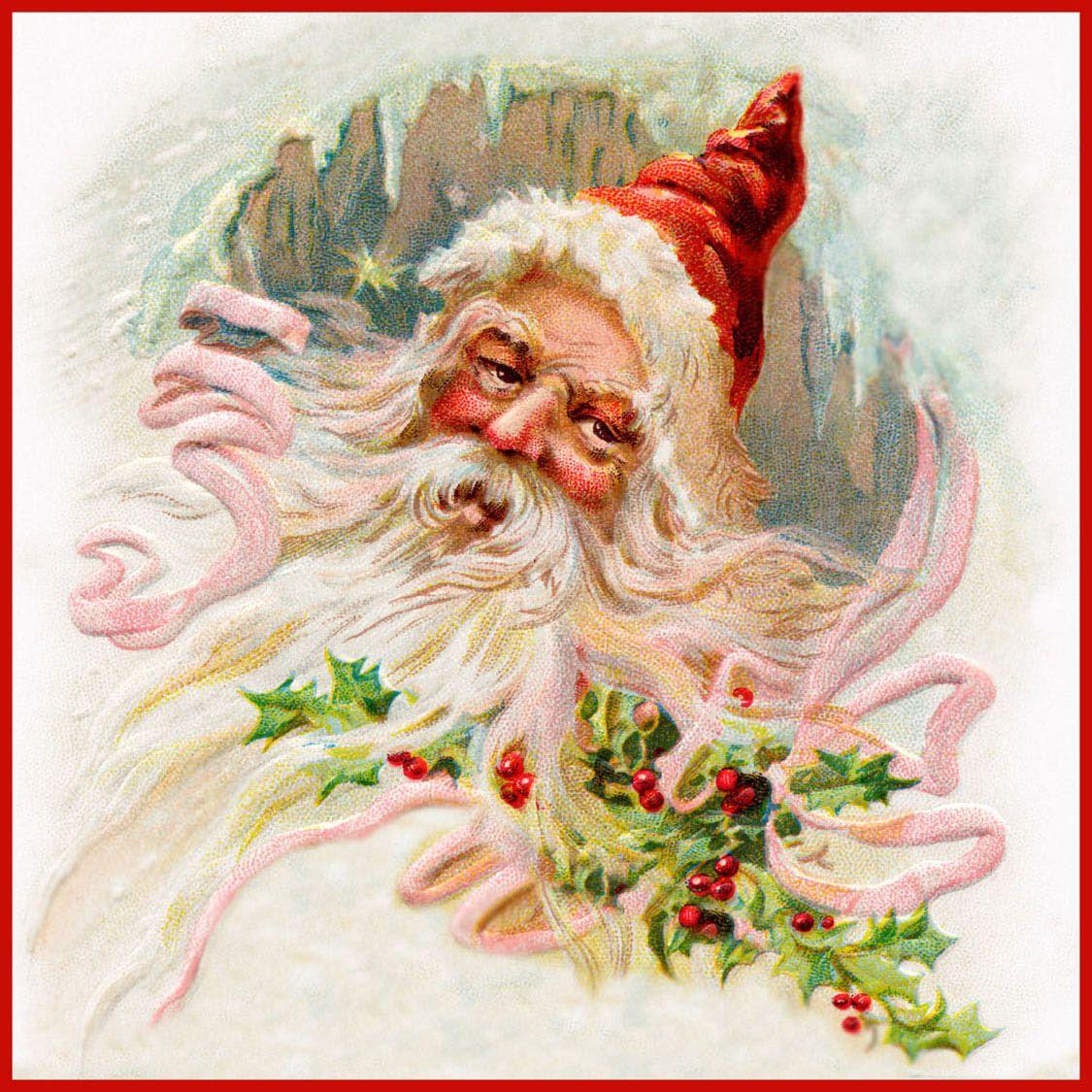 A Vintage Santa Claus Illustration Navidad Vintage Estampillas Sellos