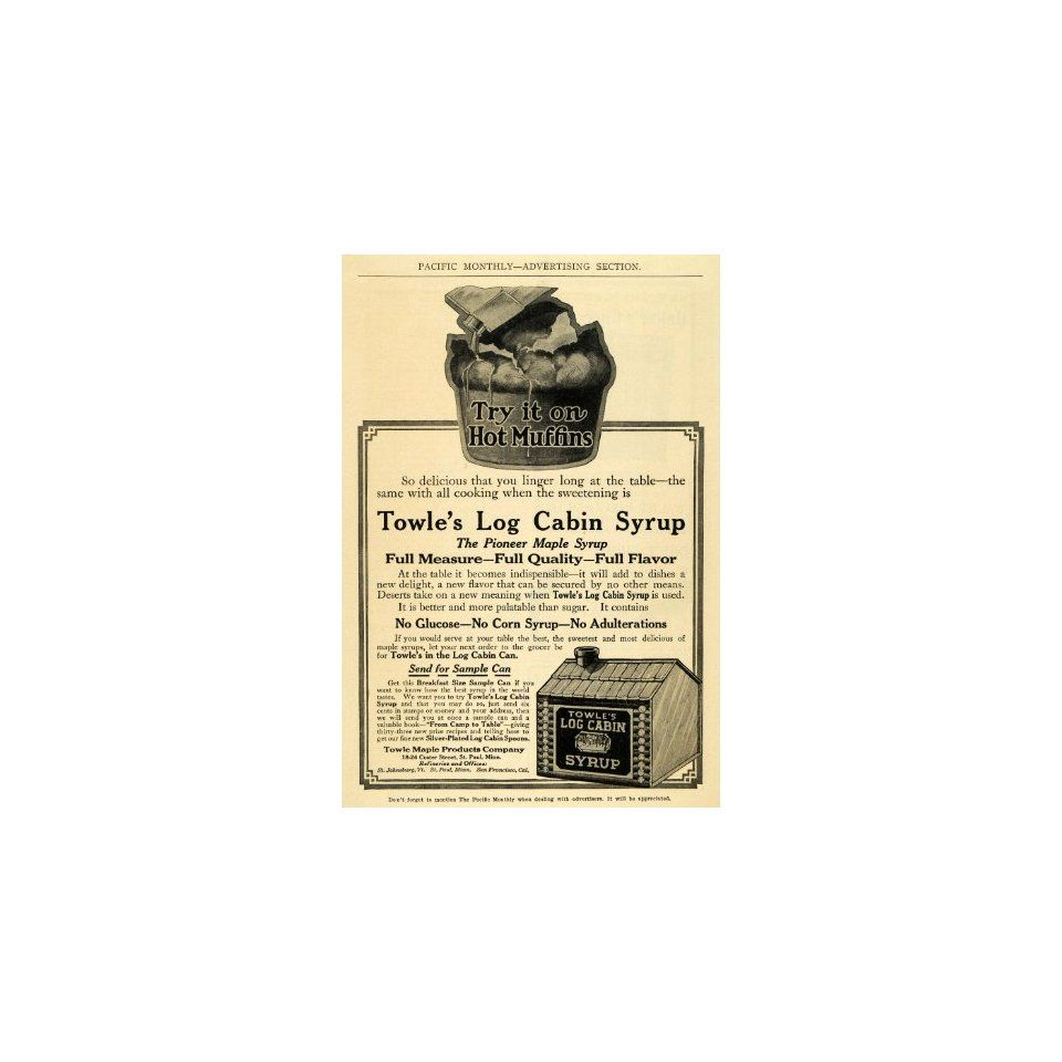 1911 Ad Towle Log Cabin Pioneer Maple Syrup St. Paul MN | Log Cabin ...