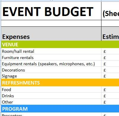 Event Worksheet  Excel Spreadsheets    Household