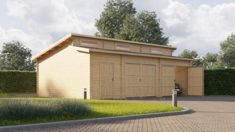 46 m2 Dobbelt garage med redskabsrum 790 moderne (med