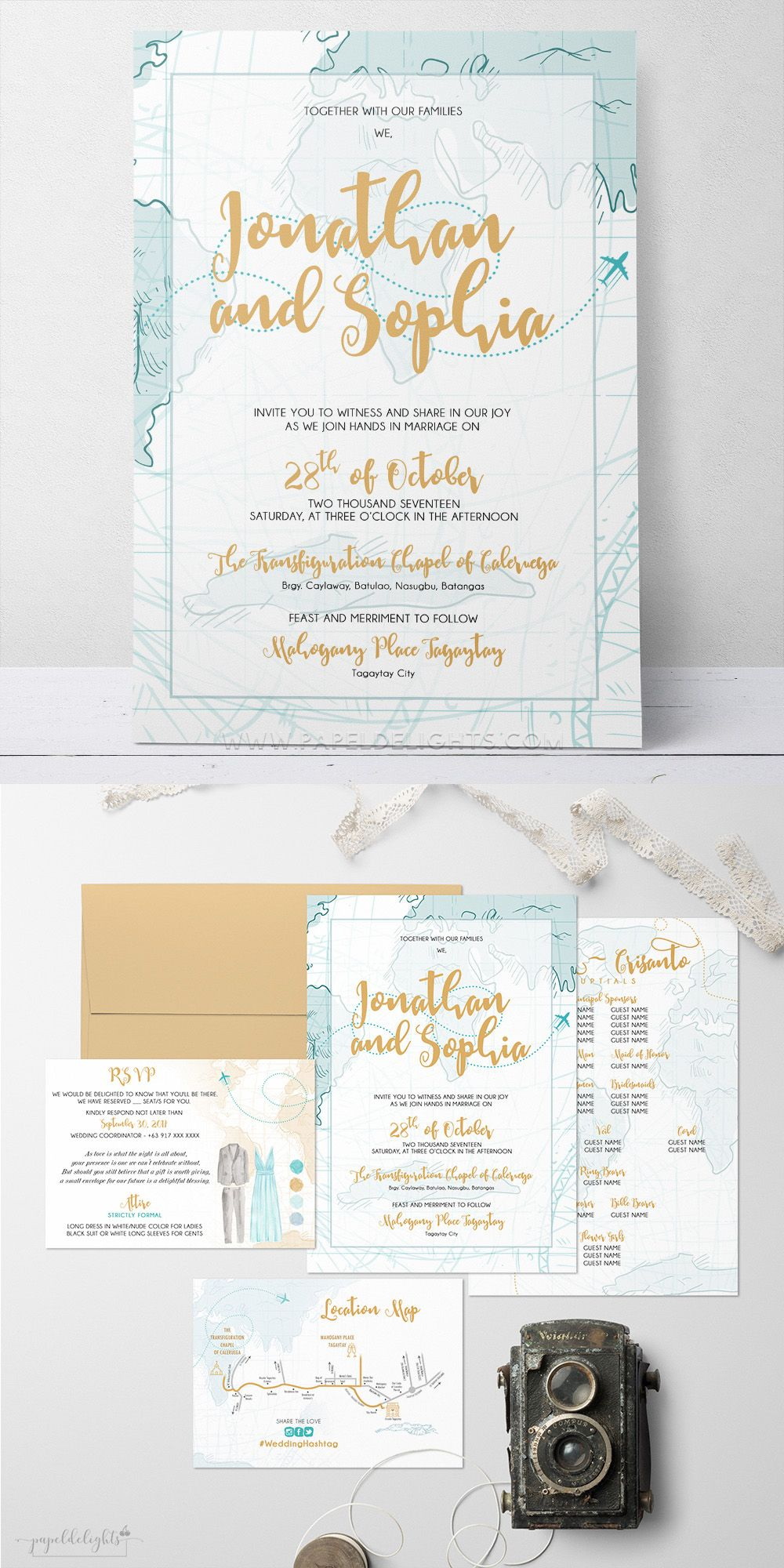 travel wedding invitation Papeldelights Design Studio
