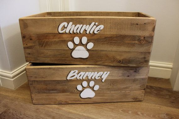 Personalised Dog Toy Box Cat Pet Toybox Hand Crafted Wooden