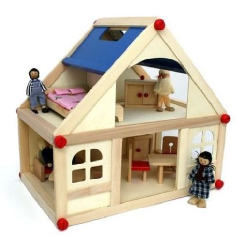 Charming Wooden Dolls House With Furniture And Doll Family   Kids Christmas Gift