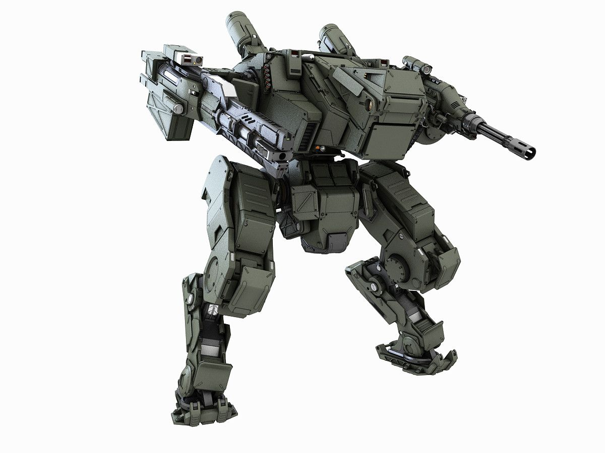 3d max robot fighter Mech, Drones concept, 3d model