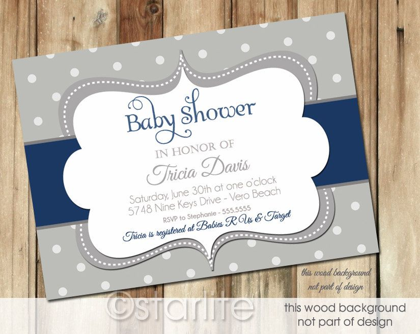 baby shower invitation for twins%0A Baby Shower Invitation  Bold Dots  Navy  Dark Blue  Gray Grey  Baby